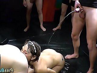 Throated whore drinks pee