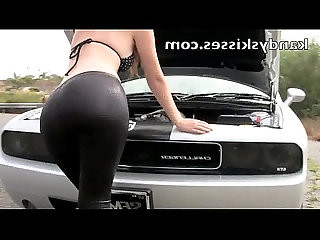 Hot Chick in Spandex Fixes Car
