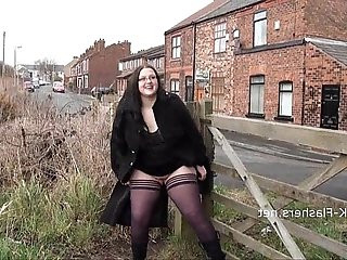 Emmas bbw flashing and amateur public nudity of masturbating girl next door solo