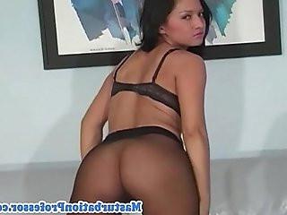 Busty hottie in nylon stocking strips