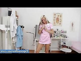 Sexy nurse Venus fingers her cunt on gyn chair