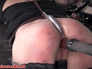 Bound redhead sub toyed by her BDSM maledom