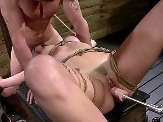 Bdsm babe Marley Blaze gangbanged by fucking machine and cock of master