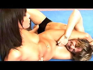 Gorgeous Melanie Memphis wrestles and busting nuts