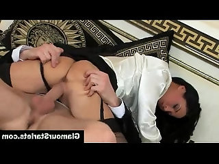 Glam clothed euro hoe loves white cock