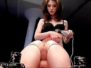 Blonde in bondage device pussy fucked in femdom