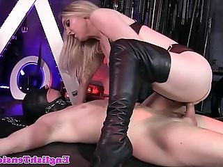 BDSM femdom queening her bound sub