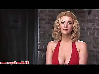 Blonde bdsm sub toyed in pussy while hogtied