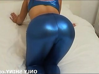 Check out my tight little ass in these shiny blue panties