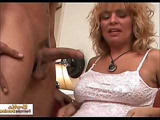 Horny cougar masturbates and fucked in the ass very hard