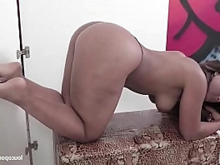 Ebony horny girl gives footjob and blowjob in the gloryhole!! Foot fetish Action!