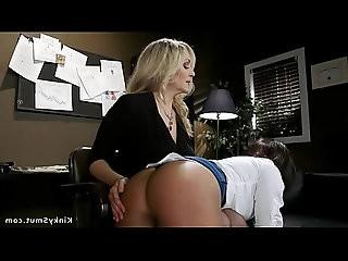 Lesbian Milf boss anal fucks employees